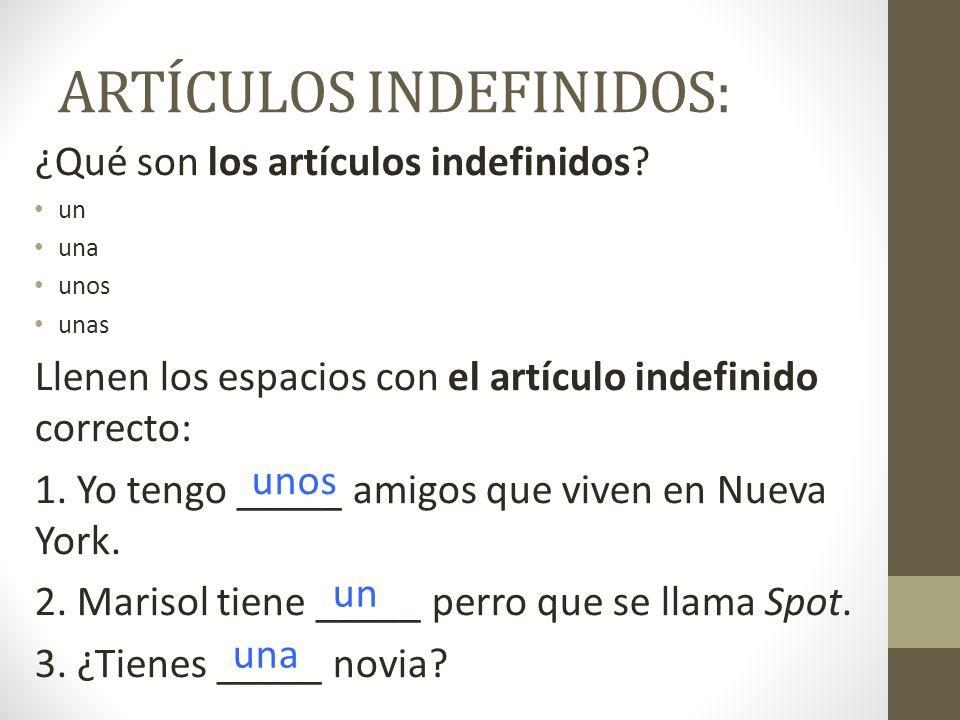 ARTÍCULOS INDEFINIDOS: ¿Qué son los artículos indefinidos? un una unos unas Llenen los espacios con el artículo indefinido correcto: 1. Yo tengo _____