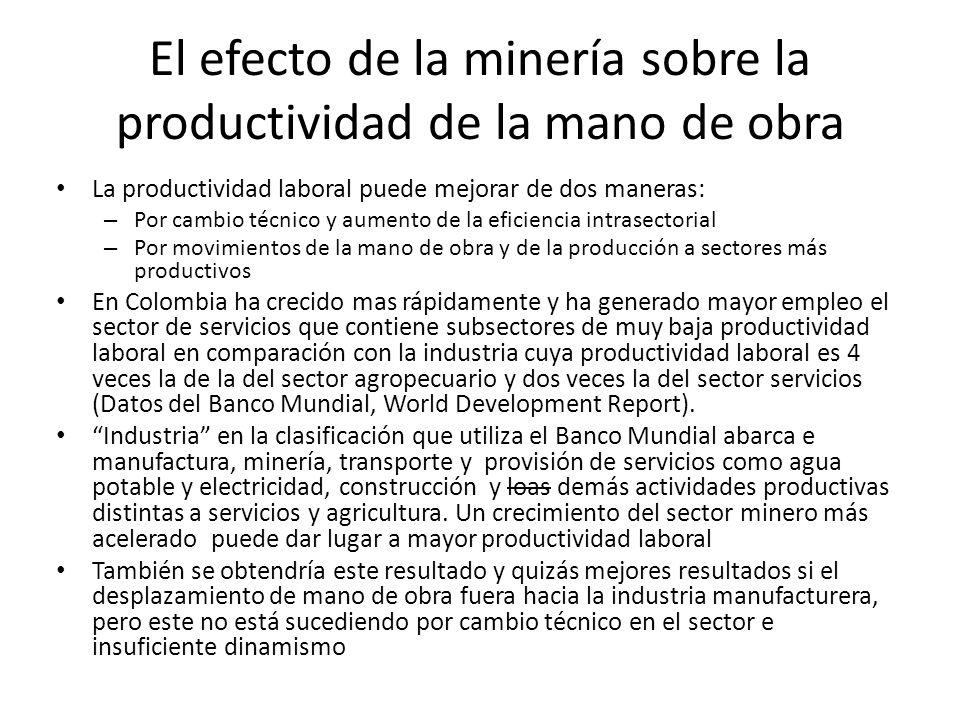 El efecto de la minería sobre la productividad de la mano de obra La productividad laboral puede mejorar de dos maneras: – Por cambio técnico y aument