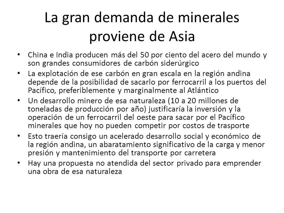 La gran demanda de minerales proviene de Asia China e India producen más del 50 por ciento del acero del mundo y son grandes consumidores de carbón siderúrgico La explotación de ese carbón en gran escala en la región andina depende de la posibilidad de sacarlo por ferrocarril a los puertos del Pacífico, preferiblemente y marginalmente al Atlántico Un desarrollo minero de esa naturaleza (10 a 20 millones de toneladas de producción por año) justificaría la inversión y la operación de un ferrocarril del oeste para sacar por el Pacífico minerales que hoy no pueden competir por costos de trasporte Esto traería consigo un acelerado desarrollo social y económico de la región andina, un abaratamiento significativo de la carga y menor presión y mantenimiento del transporte por carretera Hay una propuesta no atendida del sector privado para emprender una obra de esa naturaleza