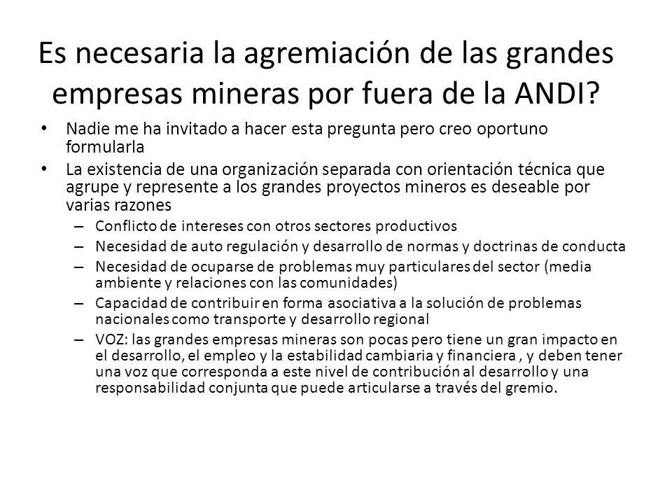 Es necesaria la agremiación de las grandes empresas mineras por fuera de la ANDI? Nadie me ha invitado a hacer esta pregunta pero creo oportuno formul