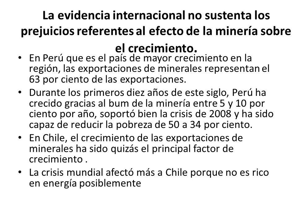 La evidencia no sustenta los prejuicios referentes al efecto de la minería sobre el crecimiento II La participación del cobre en las exportaciones de Chile pasó de 36 por ciento en 2003 a 57 por ciento en 2010 (pasando de USD$7800 millones a USD$40 billones en 2010).