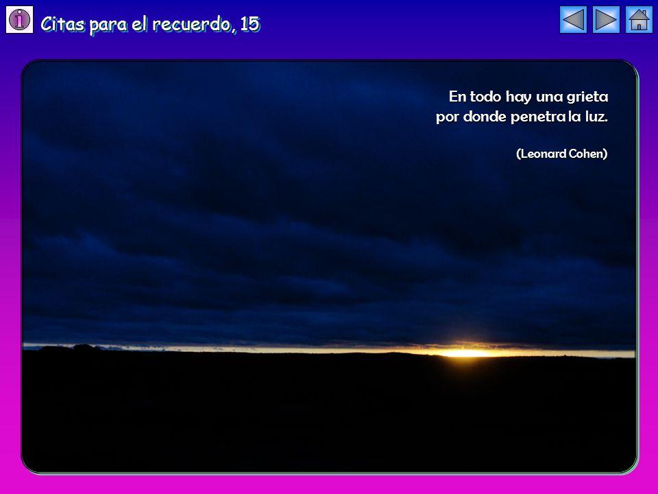 En todo hay una grieta por donde penetra la luz. (Leonard Cohen) Citas para el recuerdo, 15