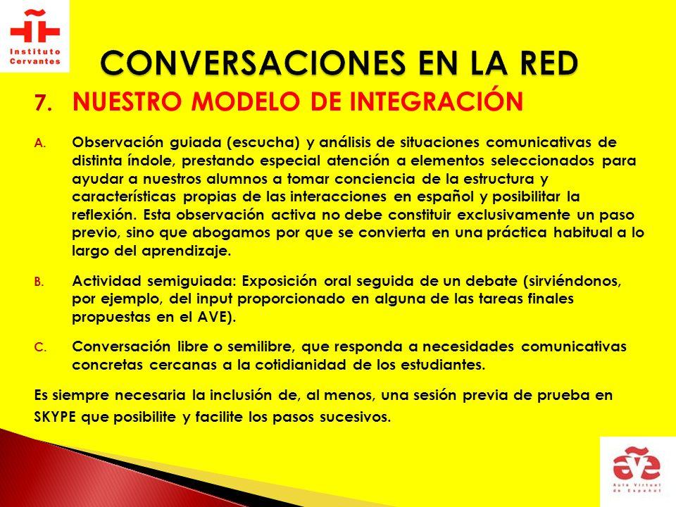 7. NUESTRO MODELO DE INTEGRACIÓN A. Observación guiada (escucha) y análisis de situaciones comunicativas de distinta índole, prestando especial atenci