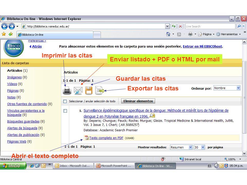 Imprimir las citas Exportar las citas Abrir el texto completo Guardar las citas Enviar listado + PDF o HTML por mail
