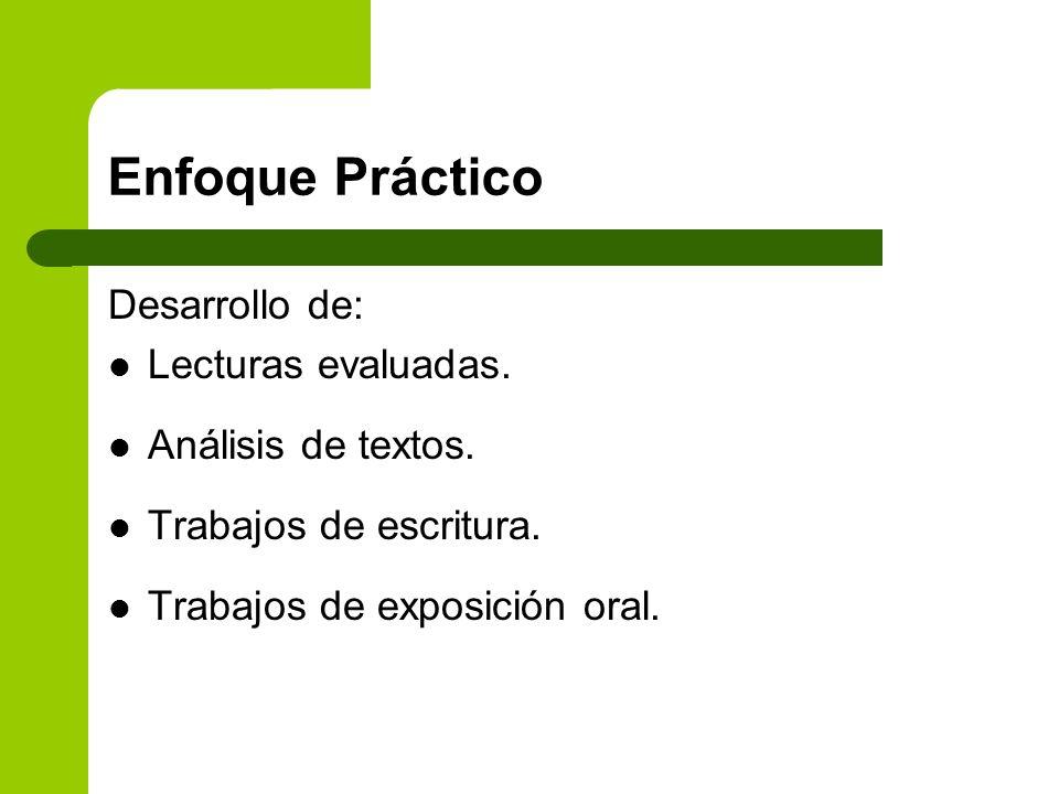 Enfoque Práctico Desarrollo de: Lecturas evaluadas. Análisis de textos. Trabajos de escritura. Trabajos de exposición oral.