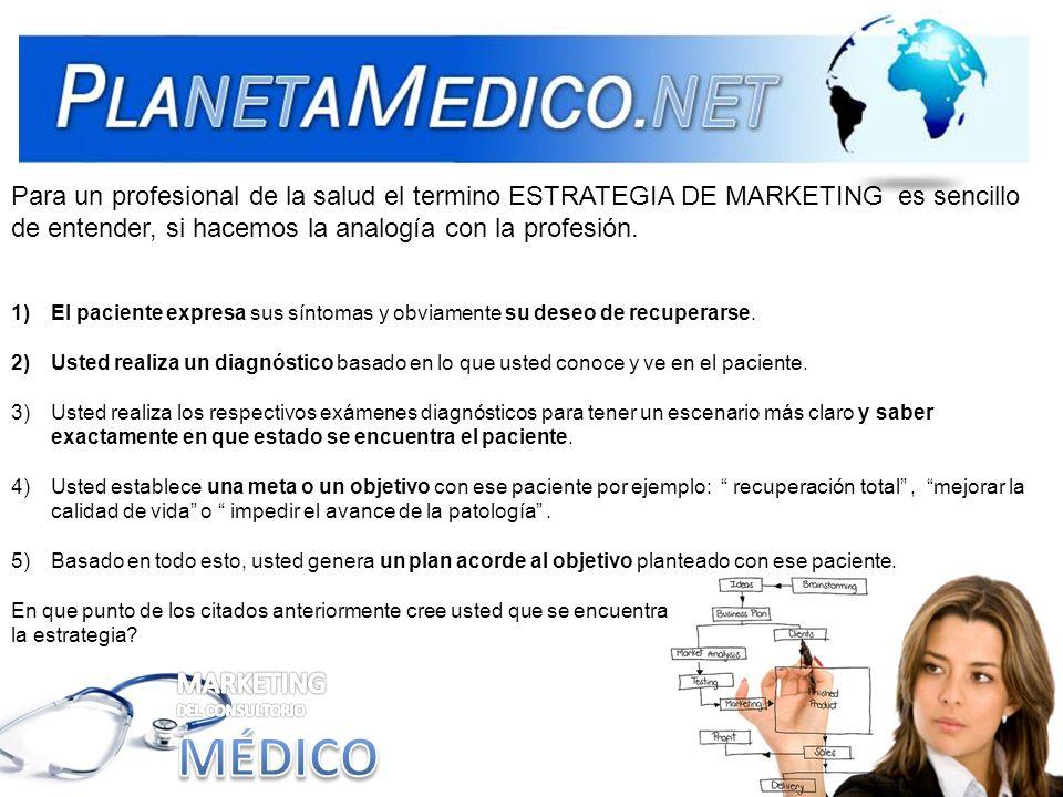 Para un profesional de la salud el termino ESTRATEGIA DE MARKETING es sencillo de entender, si hacemos la analogía con la profesión. 1)El paciente exp