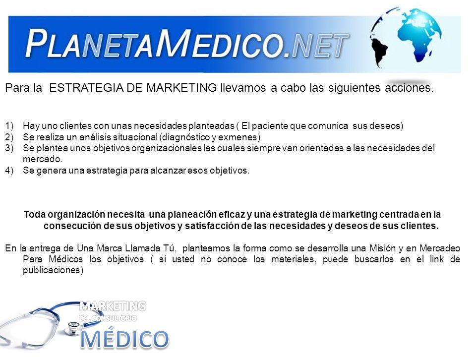 Para la ESTRATEGIA DE MARKETING llevamos a cabo las siguientes acciones. 1)Hay uno clientes con unas necesidades planteadas ( El paciente que comunica