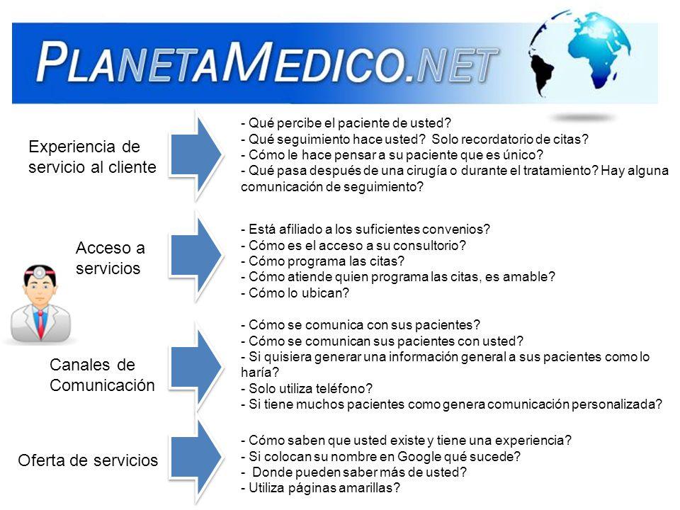 Experiencia de servicio al cliente Acceso a servicios Canales de Comunicación Oferta de servicios - Qué percibe el paciente de usted? - Qué seguimient