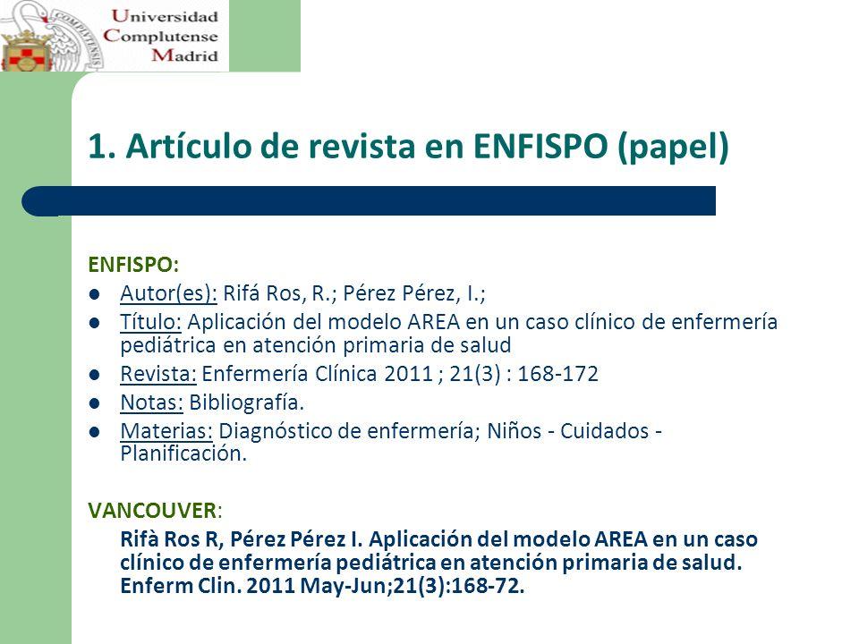 1. Artículo de revista en ENFISPO (papel) ENFISPO: Autor(es): Rifá Ros, R.; Pérez Pérez, I.; Título: Aplicación del modelo AREA en un caso clínico de