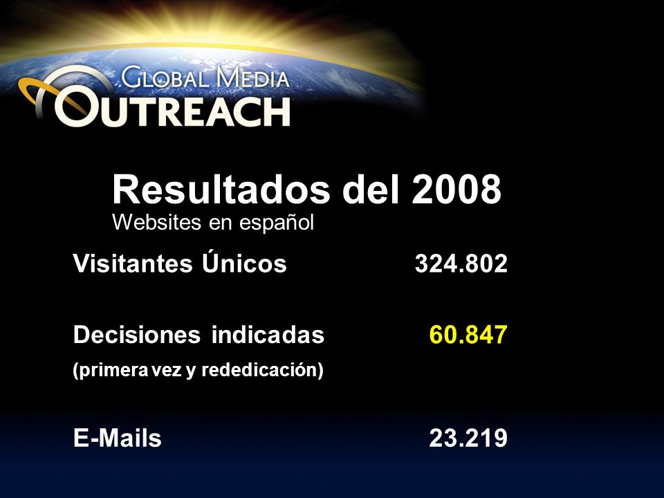 Slide 6 of 7 Visitantes Únicos324.802 Decisiones indicadas 60.847 (primera vez y rededicación) E-Mails23.219 Resultados del 2008 Websites en español