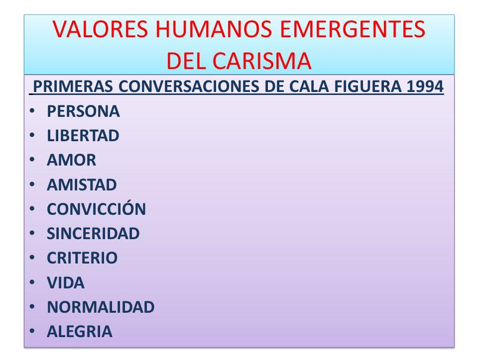 VALORES HUMANOS EMERGENTES DEL CARISMA PRIMERAS CONVERSACIONES DE CALA FIGUERA 1994 PERSONA LIBERTAD AMOR AMISTAD CONVICCIÓN SINCERIDAD CRITERIO VIDA
