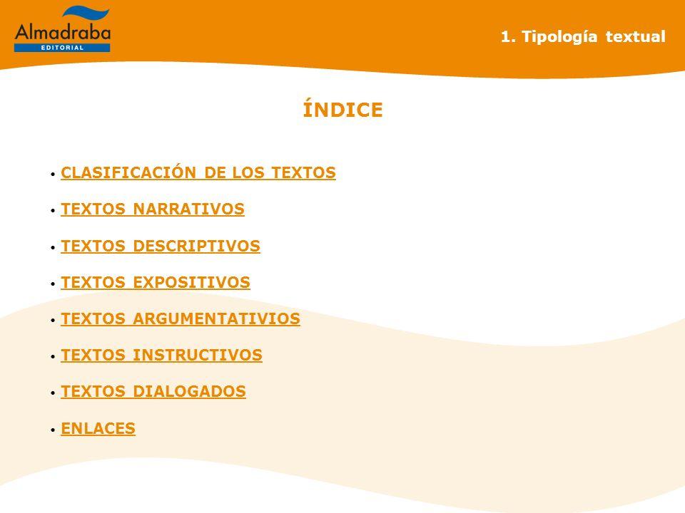 1. Tipología textual ÍNDICE CLASIFICACIÓN DE LOS TEXTOS CLASIFICACIÓN DE LOS TEXTOS TEXTOS NARRATIVOS TEXTOS NARRATIVOS TEXTOS DESCRIPTIVOS TEXTOS DES