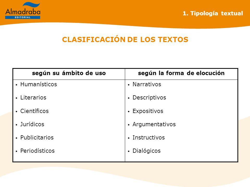 CLASIFICACIÓN DE LOS TEXTOS según su ámbito de usosegún la forma de elocución Humanísticos Literarios Científicos Jurídicos Publicitarios Periodístico