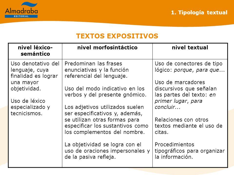 TEXTOS EXPOSITIVOS 1. Tipología textual nivel léxico- semántico nivel morfosintácticonivel textual Uso denotativo del lenguaje, cuya finalidad es logr