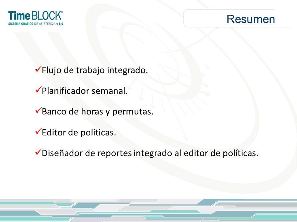 Resumen Flujo de trabajo integrado. Planificador semanal. Banco de horas y permutas. Editor de políticas. Diseñador de reportes integrado al editor de