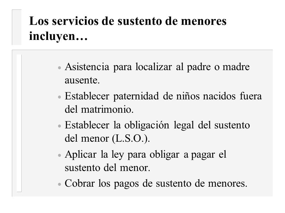 Requisitos de la Oficina de Sustento de Menores Los individuos que reciben TANF/ Trabajo Primero son referidos automáticamente a la oficina local de S