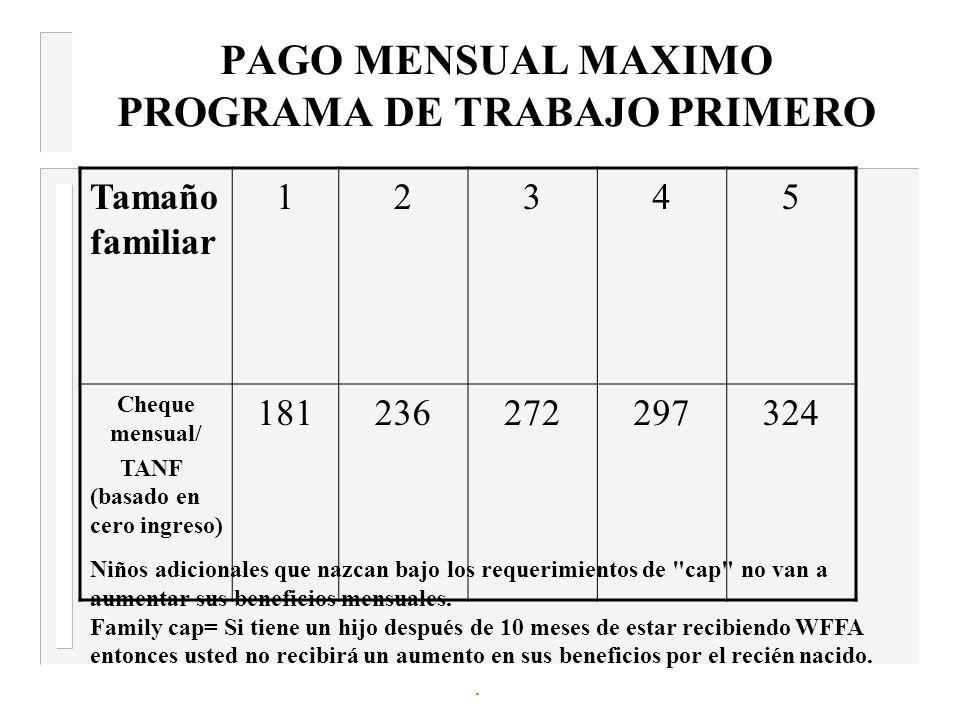 PAGO MENSUAL MAXIMO PROGRAMA DE TRABAJO PRIMERO Tamaño familiar 12345 Cheque mensual/ TANF (basado en cero ingreso) 181236272297324 Niños adicionales que nazcan bajo los requerimientos de cap no van a aumentar sus beneficios mensuales.