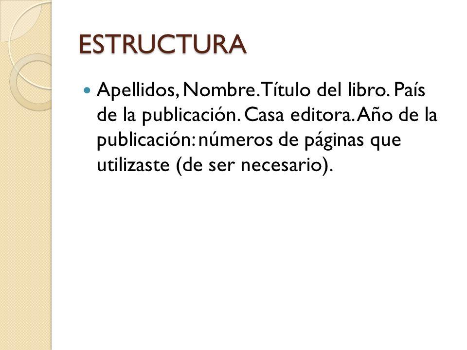 ESTRUCTURA Apellidos, Nombre.Título del libro. País de la publicación.