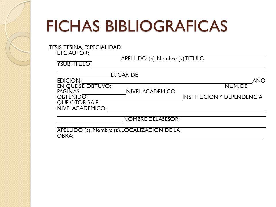FICHAS BIBLIOGRAFICAS TESIS, TESINA, ESPECIALIDAD, ETC.AUTOR:________________________________________________________ ___________ APELLIDO (s), Nombre (s)TITULO YSUBTITULO:_______________________________________________________ __________________________________________________________________ _________________LUGAR DE EDICION:______________________________________________________AÑO EN QUE SE OBTUVO:____________________________________NUM.