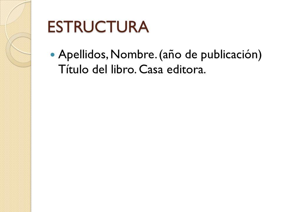 ESTRUCTURA Apellidos, Nombre. (año de publicación) Título del libro. Casa editora.
