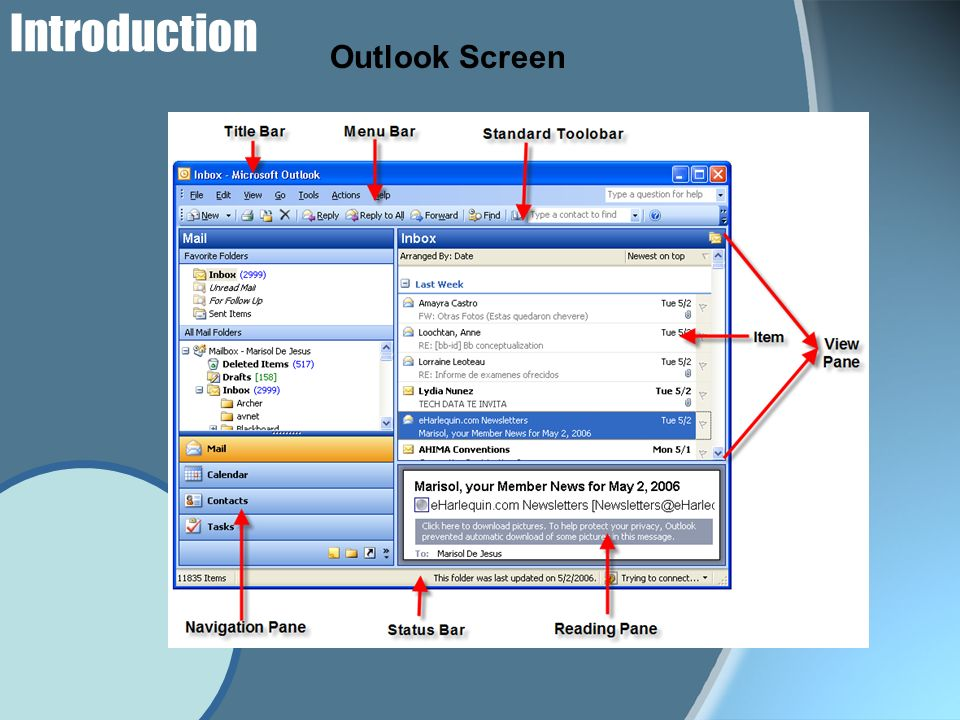 Elements in Outlook Title Bar Muestra el programa que está abierto, con el folder que está activo.