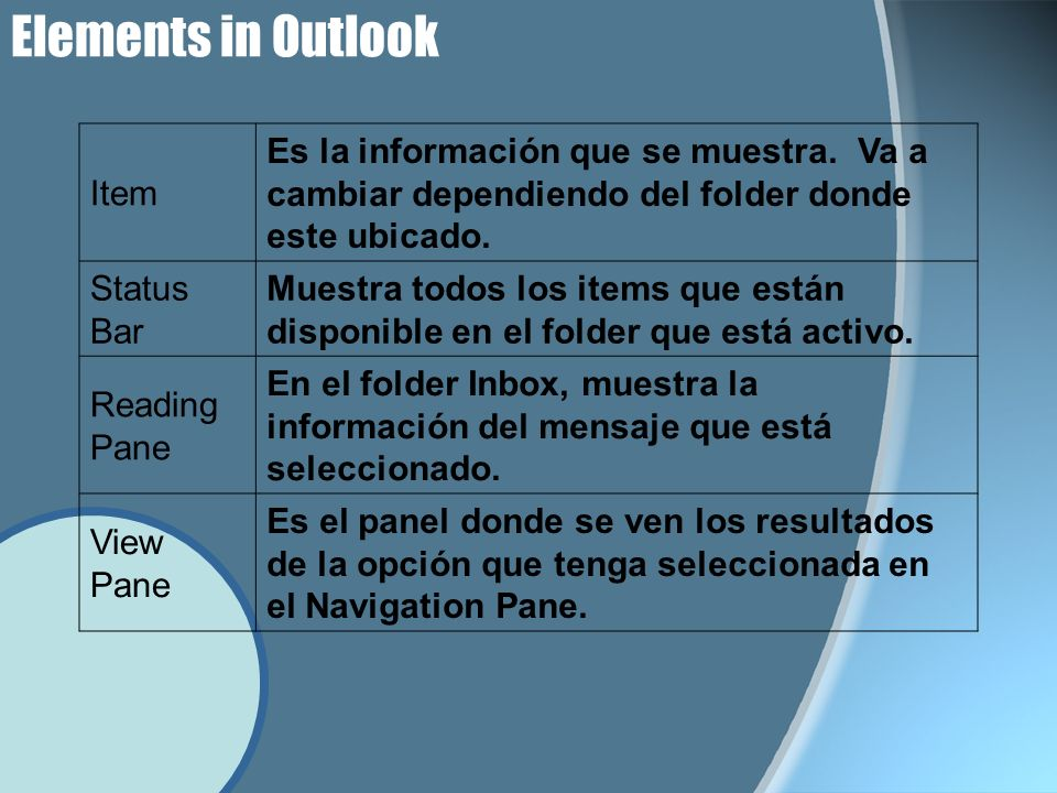 Elements in Outlook Item Es la información que se muestra.