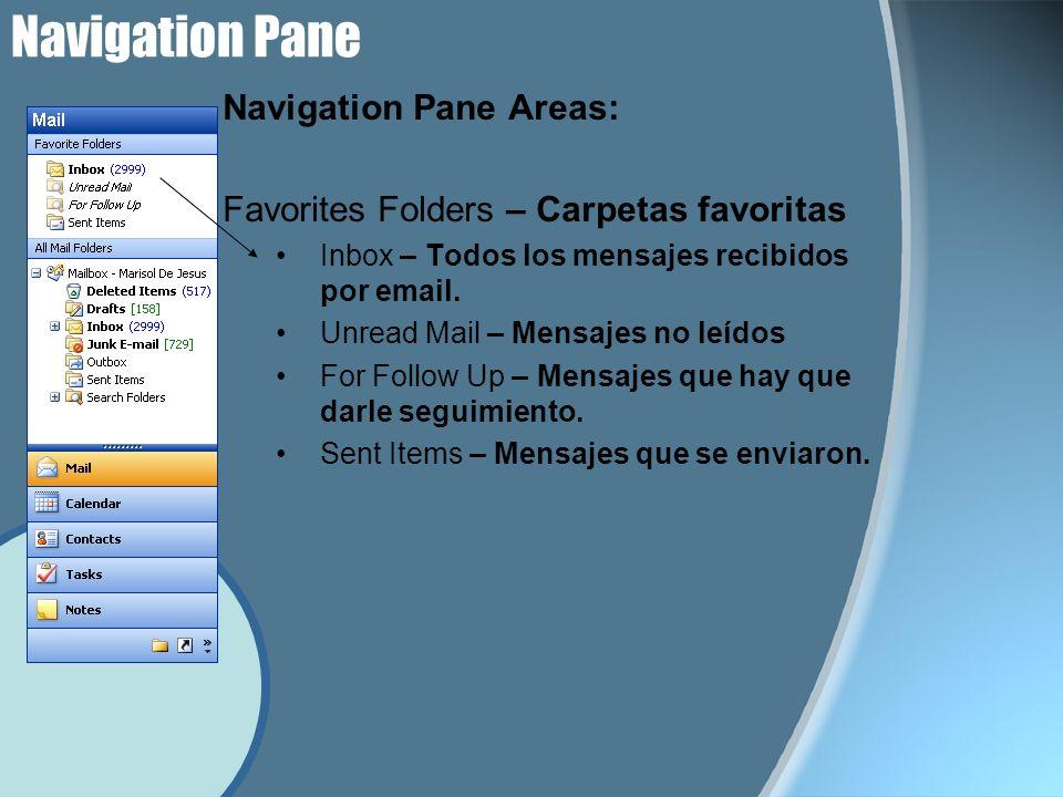 Navigation Pane Navigation Pane Areas: Favorites Folders – Carpetas favoritas Inbox – Todos los mensajes recibidos por email.
