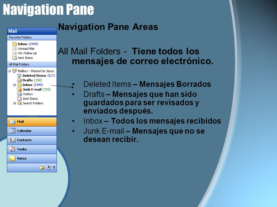 Navigation Pane Navigation Pane Areas All Mail Folders - Tiene todos los mensajes de correo electrónico. Deleted Items – Mensajes Borrados Drafts – Me
