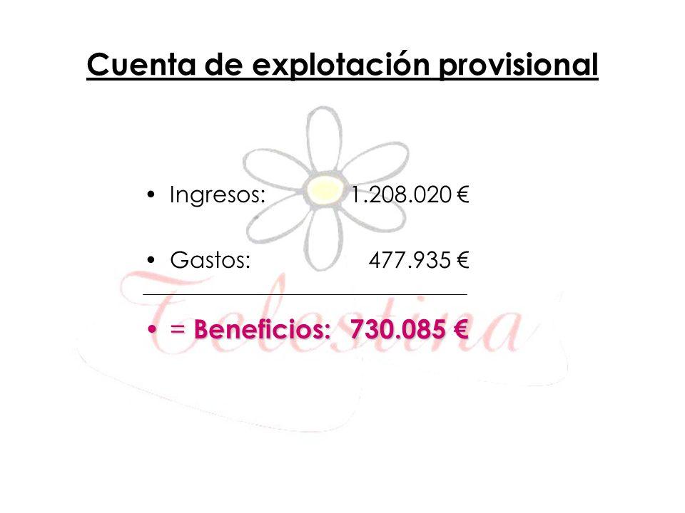 Cuenta de explotación provisional Ingresos: 1.208.020 Gastos: 477.935 = Beneficios: 730.085= Beneficios: 730.085