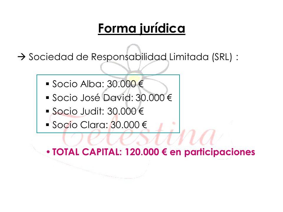 Forma jurídica Sociedad de Responsabilidad Limitada (SRL) : Socio Alba: 30.000 Socio José David: 30.000 Socio Judit: 30.000 Socio Clara: 30.000 TOTAL