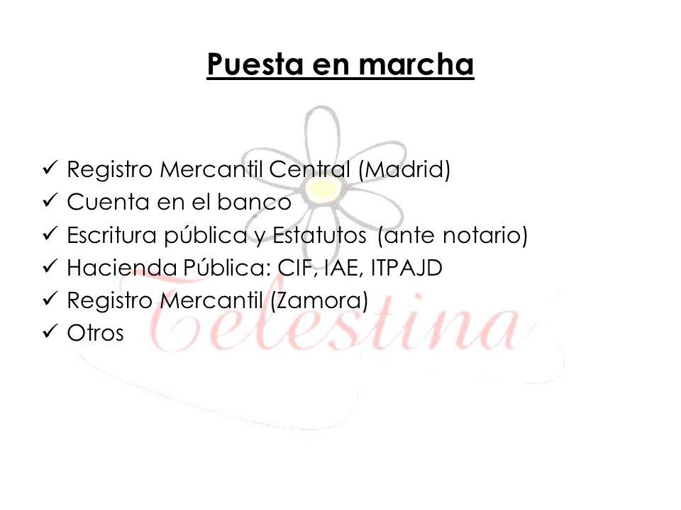 Puesta en marcha Registro Mercantil Central (Madrid) Cuenta en el banco Escritura pública y Estatutos (ante notario) Hacienda Pública: CIF, IAE, ITPAJ