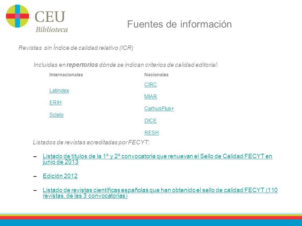 Fuentes de información Revistas sin Índice de calidad relativo (ICR) Incluidas en repertorios dónde se indican criterios de calidad editorial: Listado