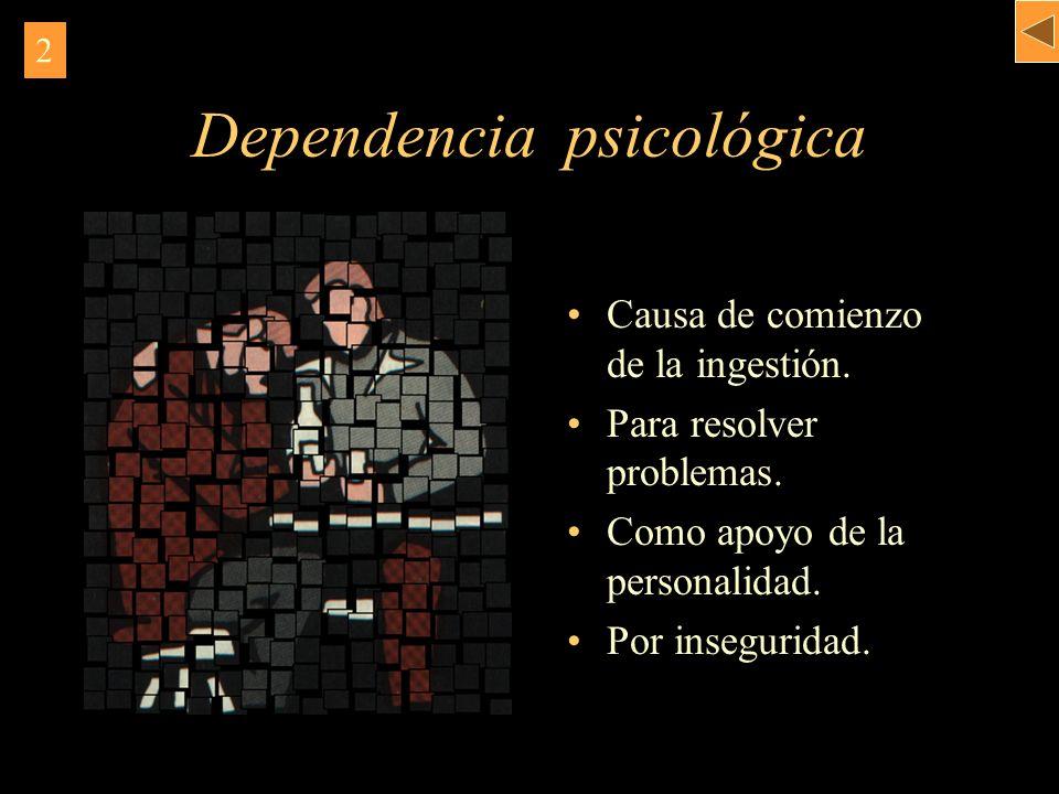 Dependencia psicológica Causa de comienzo. de la ingestión. Para resolver problemas. Como apoyo de la personalidad. Por inseguridad. 2