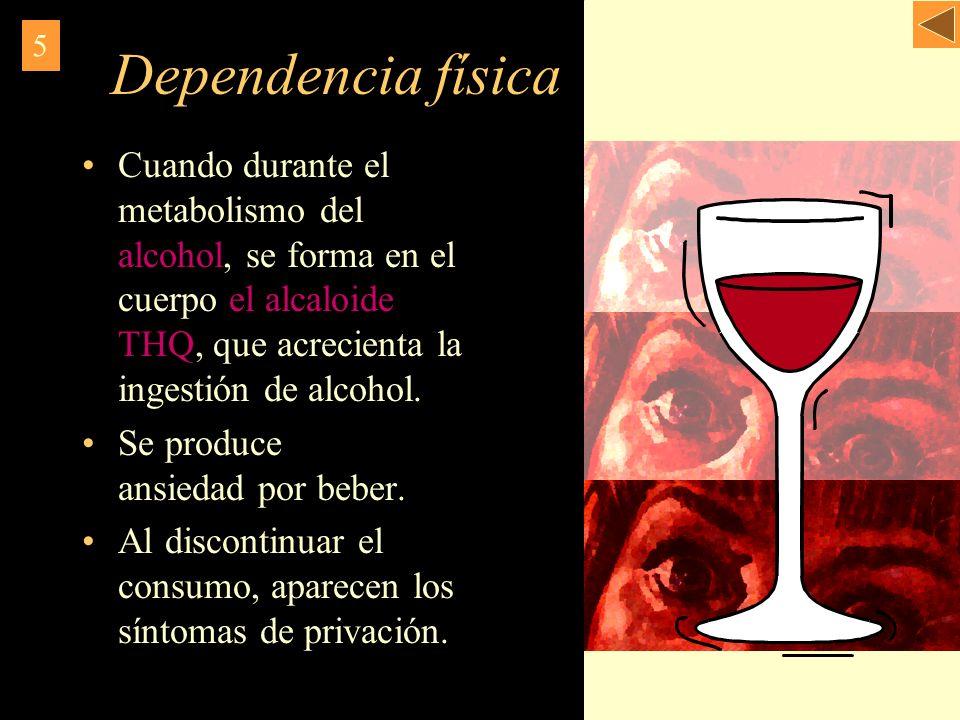Dependencia física Cuando durante el metabolismo del alcohol, se forma en el cuerpo el alcaloide THQ, que acrecienta la ingestión de alcohol. Se produ