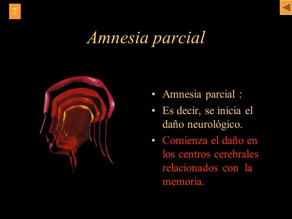 Amnesia parcial Amnesia parcial : Es decir, se inicia el daño neurológico. Comienza el daño en los centros cerebrales relacionados con la memoria. 7