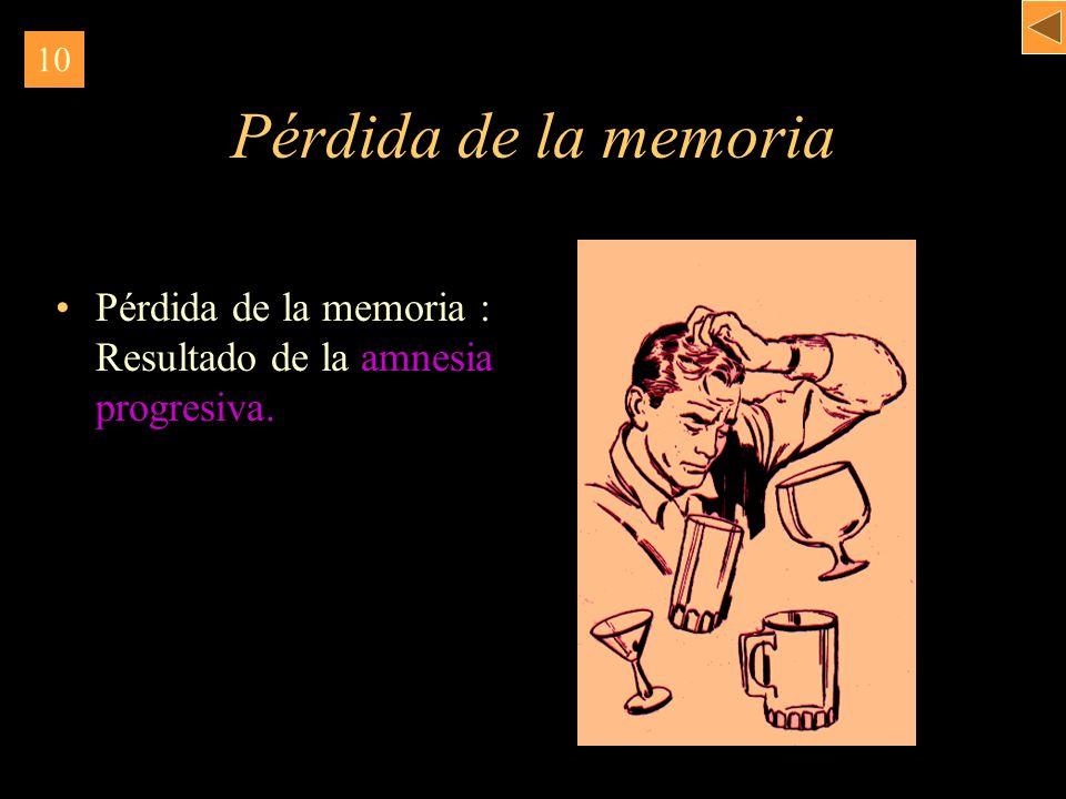 Pérdida de la memoria Pérdida de la memoria : Resultado de la amnesia progresiva. 10