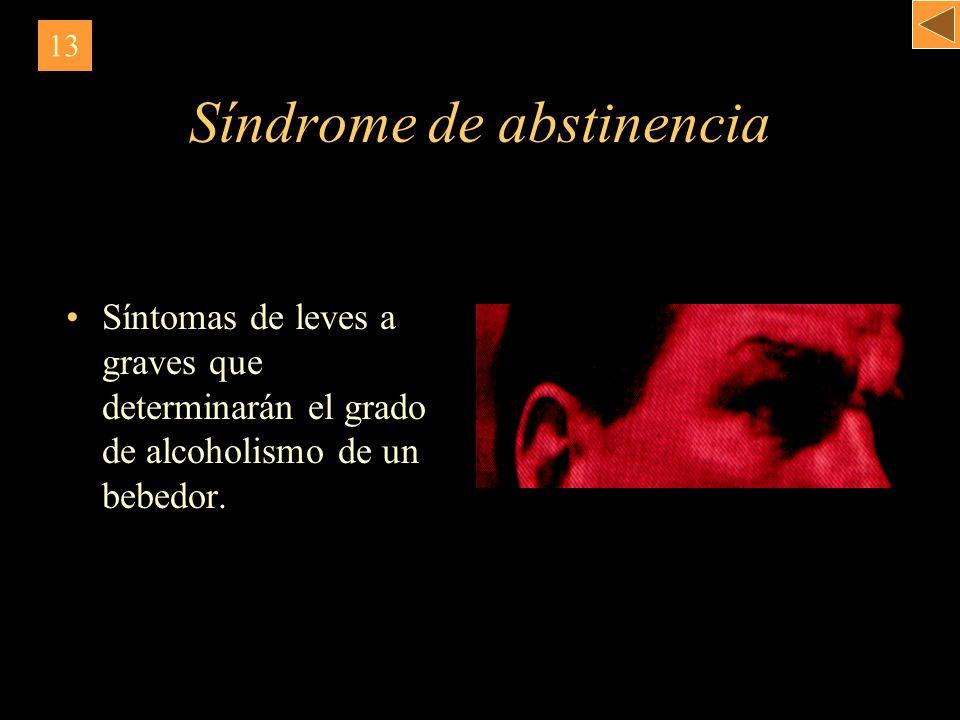 Síndrome de abstinencia Síntomas de leves a graves que determinarán el grado de alcoholismo de un bebedor. 13