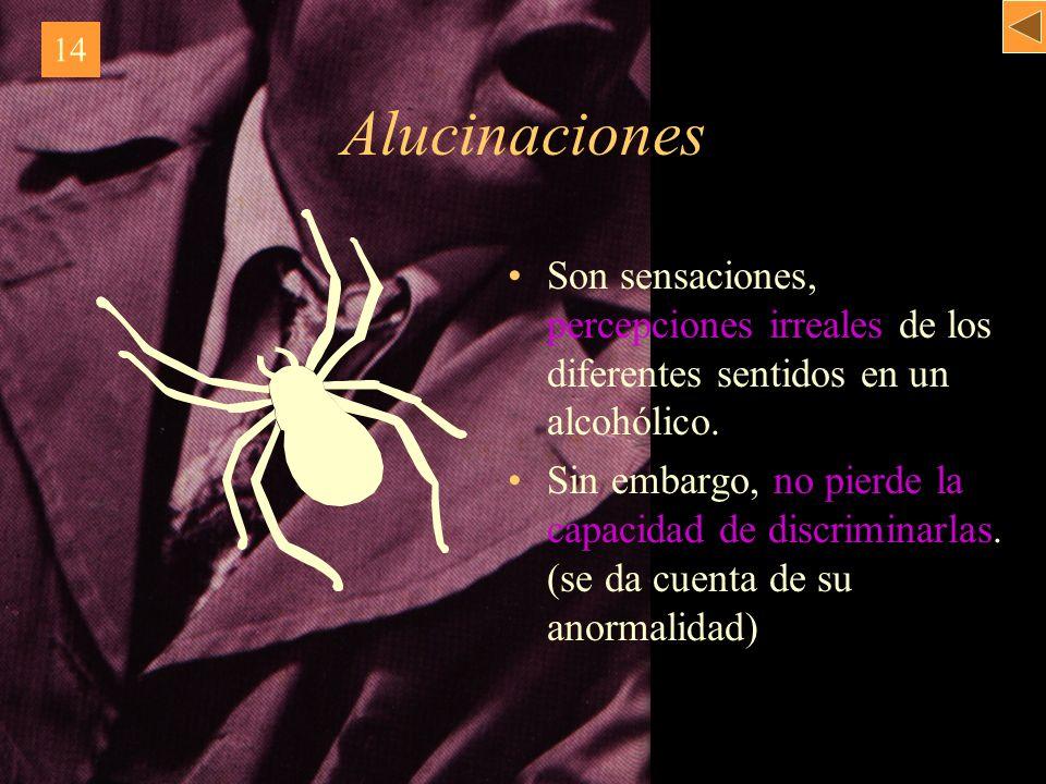 Alucinaciones Son sensaciones, percepciones irreales de los diferentes sentidos en un alcohólico. Sin embargo, no pierde la capacidad de discriminarla
