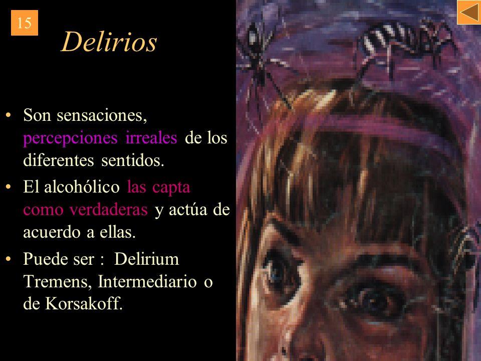 Delirios Son sensaciones, percepciones irreales de los diferentes sentidos. El alcohólico las capta como verdaderas y actúa de acuerdo a ellas. Puede
