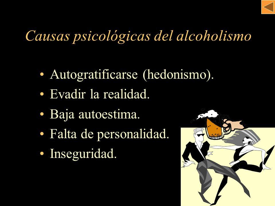 Autogratificarse (hedonismo). Evadir la realidad. Baja autoestima. Falta de personalidad. Inseguridad. Causas psicológicas del alcoholismo