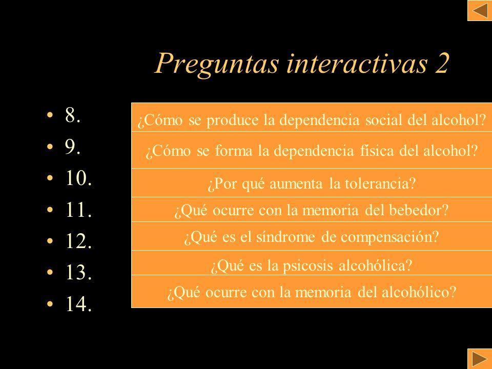 Preguntas interactivas 2 8. 9. 10. 11. 12. 13. 14. ¿Cómo se produce la dependencia social del alcohol? ¿Cómo se forma la dependencia física del alcoho
