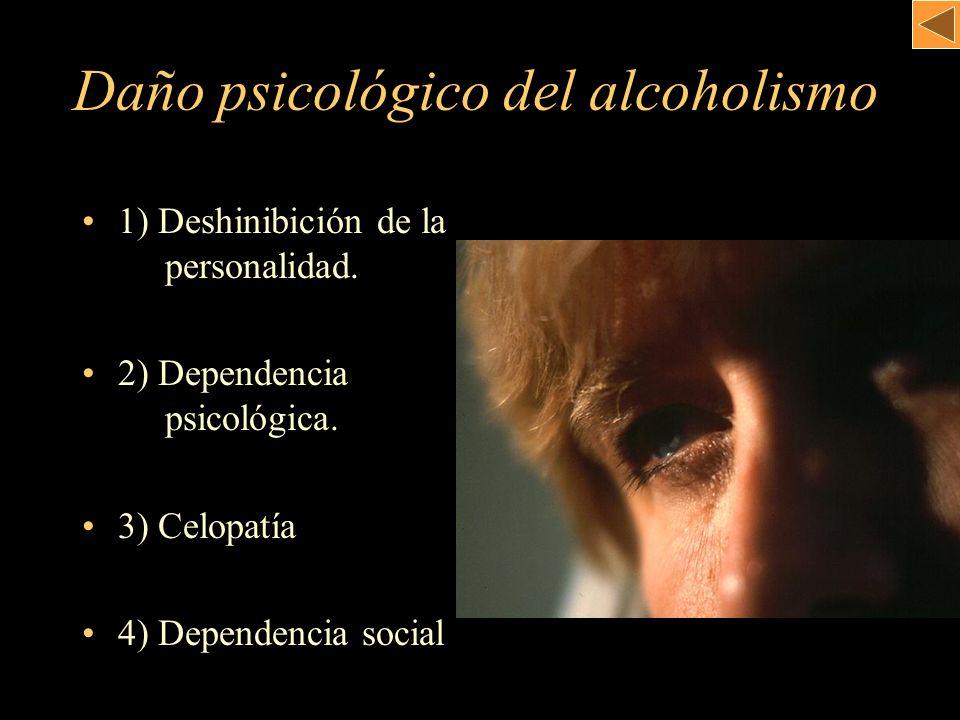Daño psicológico del alcoholismo 1) Deshinibición de la. personalidad. 2) Dependencia. psicológica. 3) Celopatía 4) Dependencia social
