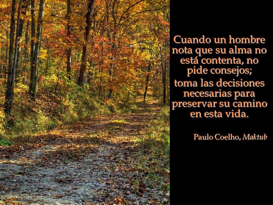 Cuando un hombre nota que su alma no está contenta, no pide consejos; toma las decisiones necesarias para preservar su camino en esta vida. Paulo Coel