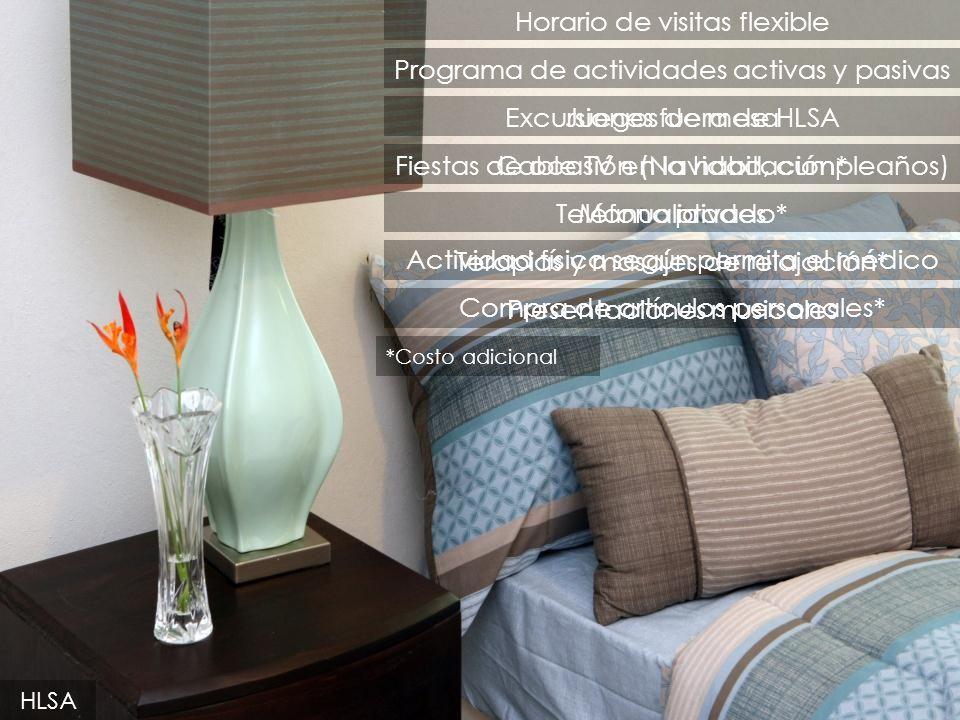 Cable TV en la habitación* Terapias y masajes de relajación* Teléfono privado* Programa de actividades activas y pasivas Horario de visitas flexible C