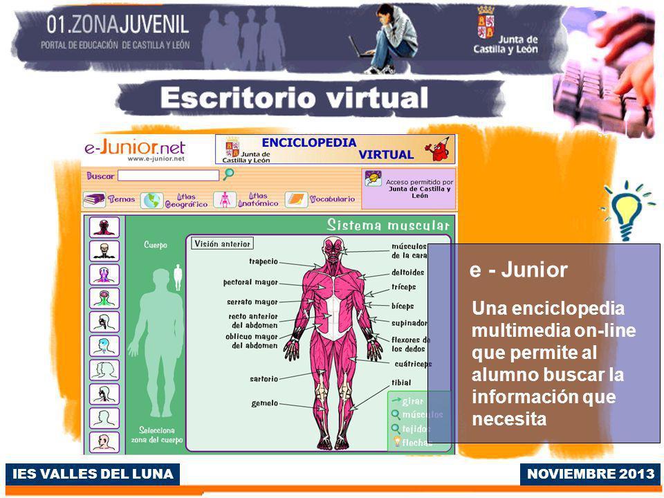 IES VALLES DEL LUNA e - Junior Una enciclopedia multimedia on-line que permite al alumno buscar la información que necesita NOVIEMBRE 2013
