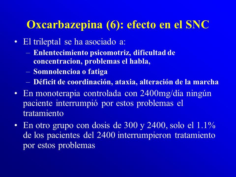 Oxcarbazepina (5) Si hay los siguientes síntomas, debe atenderse de inmediato: –sarpullido de color rojo y con picazón –crisis convulsivas –disnea (di