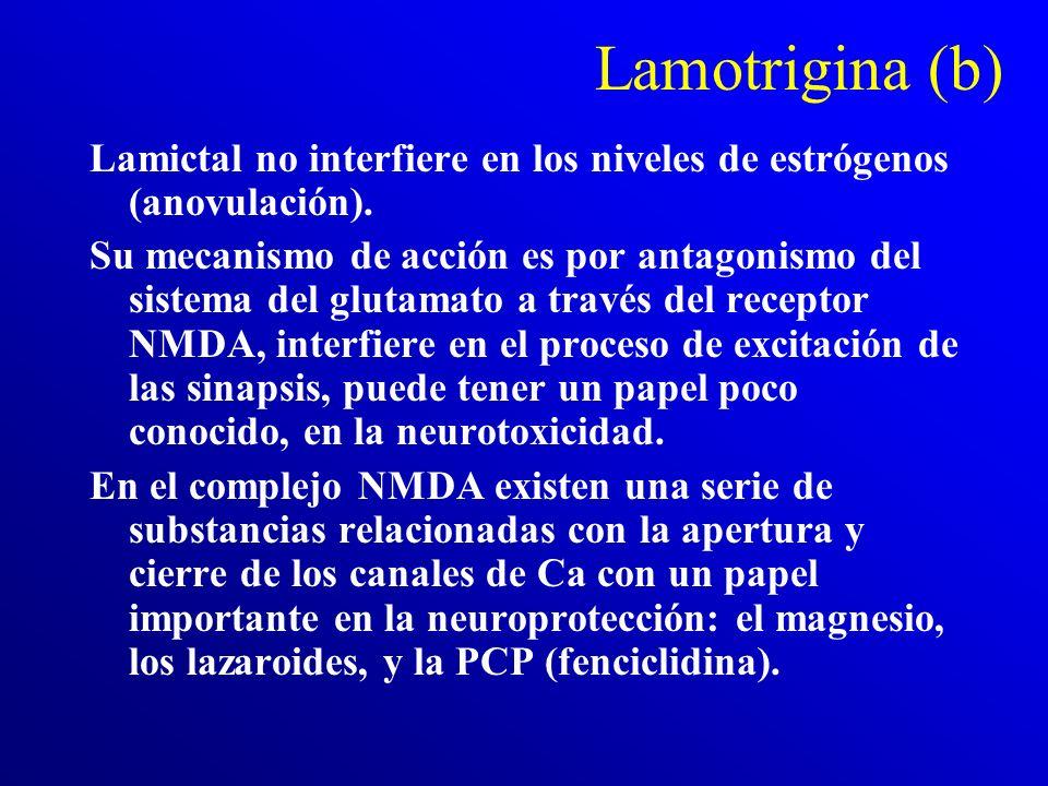 Lamotrigina (a) La lamotrigina es un antiepiléptico, eficaz tanto para las convulsiones generalizadas como para las parciales. Su interés psiquiátrico