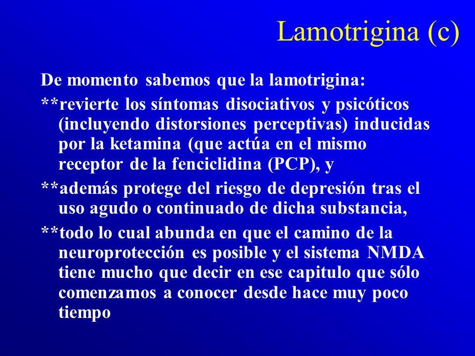 Lamotrigina (b) Lamictal no interfiere en los niveles de estrógenos (anovulación). Su mecanismo de acción es por antagonismo del sistema del glutamato