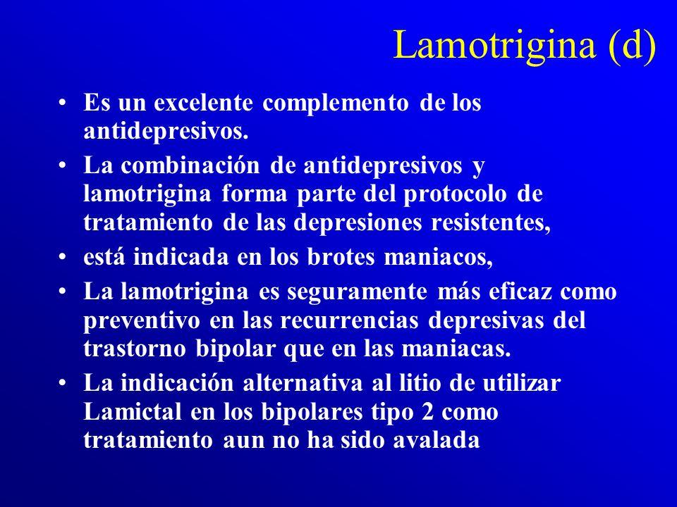 Lamotrigina (c) De momento sabemos que la lamotrigina: **revierte los síntomas disociativos y psicóticos (incluyendo distorsiones perceptivas) inducid