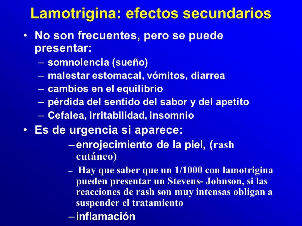 Lamotrigina: Precauciones Vigilar: –Si hay alergia a la lamotrigina o a otros medicamentos. –Si toma medicamentos como valproato, paracetamol, o antic